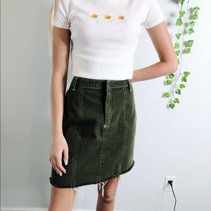 Olive Green Jean Frayed Mini High Waisted Skirt